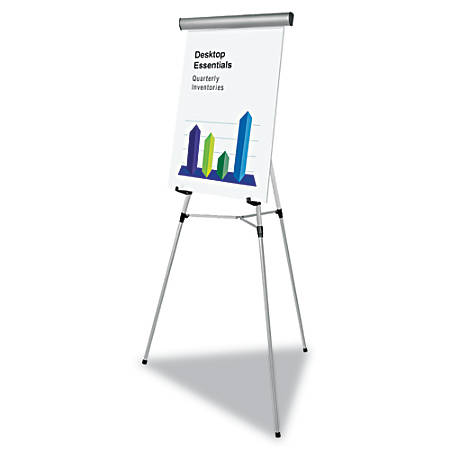 "MasterVision® Flex Lightweight Telescoping 3-Leg Display Easel, 34"" To 63"" High, Aluminum, Silver"