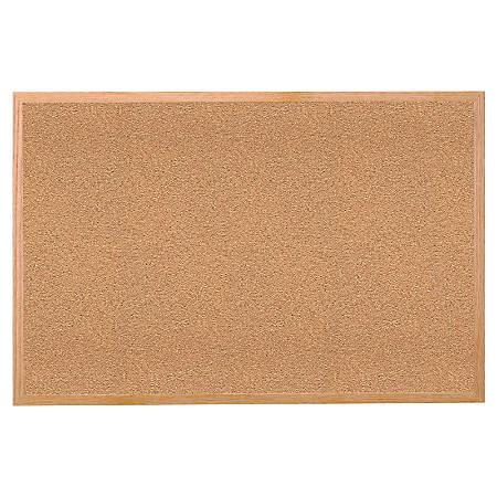 "Ghent Cork Bulletin Board, 18"" x 24"", Brown, Wood Frame"