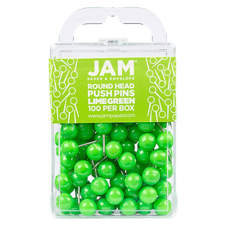 "JAM Paper® Colorful Push Pins, 1/2"", Lime Green, Pack Of 100 Push Pins"