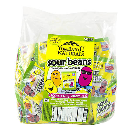 Yummy Earth Natural Sour Jelly Bean Snack Packs, Pack Of 50