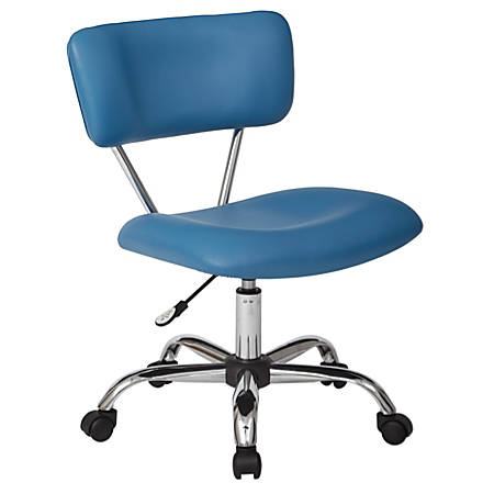 Office Star™ Avenue Six® Vista Task Chair, Faux Leather, Blue/Silver