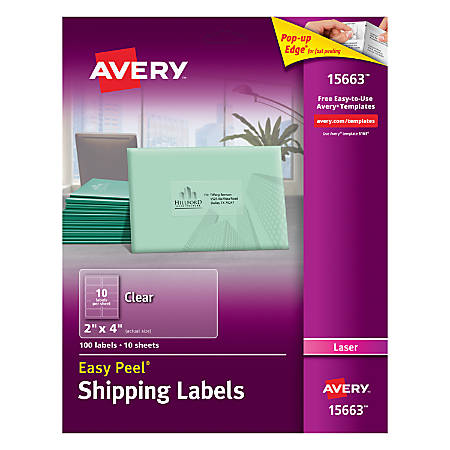 "Avery® Easy Peel® Permanent Laser Address Labels, 15663, 2"" x 4"", Clear, Pack Of 100"