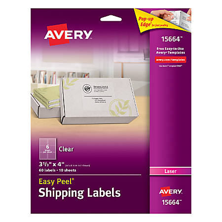 "Avery® Easy Peel® Permanent Laser Address Labels, 15664, 3 1/3"" x 4"", Clear, Pack Of 60"