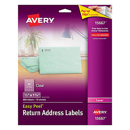 Avery Easy Peel Permanent Laser Address Labels Return 15667 12 X 1