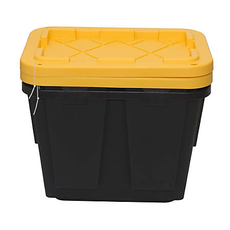 Greenmade Pro Storage Boxes, 48 Quarts, Black/Yellow, Pack Of 2 Boxes