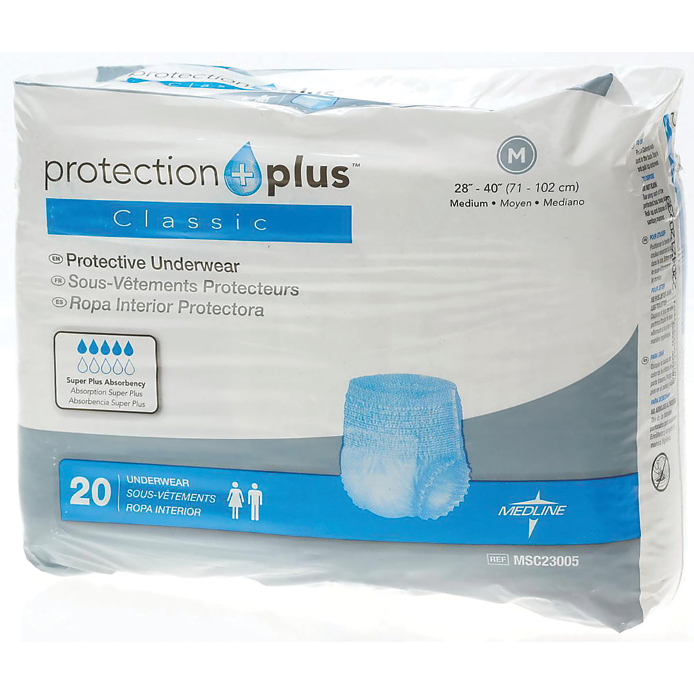 Absorbent polymer construction offers great containment and helps care for patient's skin  Super-absorbent polymer material improves containment. Cloth-like outer cover feels comfortable against the skin and helps reduce irritation and rashes.  Discreet design minimizes bulk, ensuring confidence throughout the day.  Extra-wide belts secure the undergarments in place. Includes 2 belts. Replacement belts sold separately.
