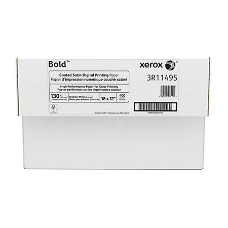 """Xerox® Bold Digital™ Coated Satin Printing Paper, 18"""" x 12"""", 94 Brightness, 130 Lb Cover (350 gsm), FSC® Certified, White, 200 Sheets Per Ream, Case Of 2 Reams"""