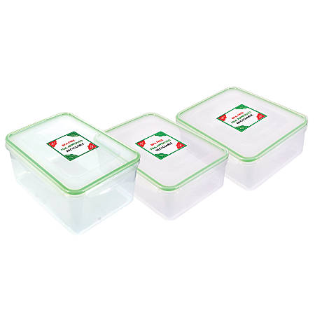 Kinetic Fresh Food Storage Container Set, 6 Piece Set, 54 Oz./91 Oz./112 Oz., Clear/Green