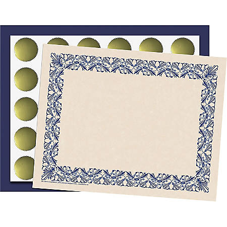 "Flipside Art Deco Blue Border Certificate Pack - 8.50"" x 11"" - Blue with Blue Border - Paper"