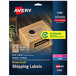Avery Permanent InkjetLaser Shipping Labels 5783