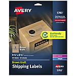 "Avery® Permanent Inkjet/Laser Shipping Labels, 5783, 5 1/2"" x 8 1/2"", 100% Recycled, Kraft Brown, Pack Of 50"
