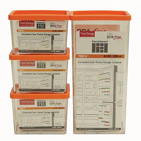 StackSmart Food Storage Containers, 8 Piece Set, Clear/Orange