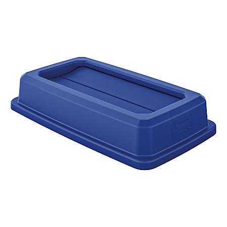 """Suncast Commercial Double-Flip Lid For Narrow Trash Cans, 3-13/16""""H x 11-13/16""""W x 20""""D, Blue"""