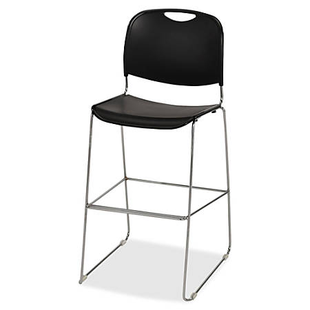 Lorell® Plastic Bistro-Height Stack Chair, Black