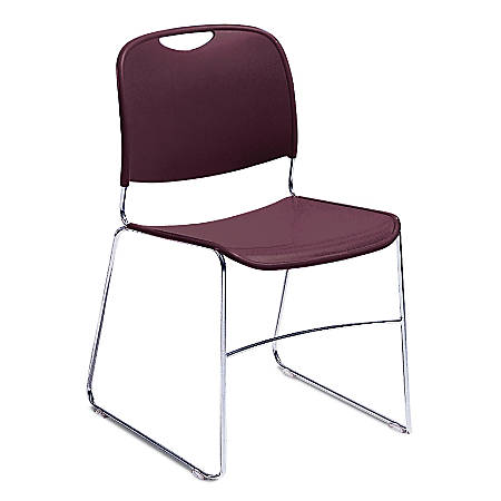 National Public Seating 8500 Ultra-Compact Stack Chair, Wine/Chrome