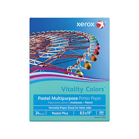 "Xerox® Vitality Colors™ Pastel Plus Multi-Use Printer Paper, Letter Size (8 1/2"" x 11""), 24 Lb, 30% Recycled, Aqua, Ream Of 500 Sheets"