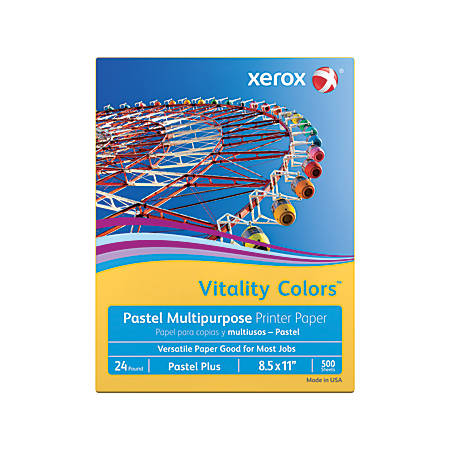 """Xerox® Vitality Colors™ Pastel Plus Multi-Use Printer Paper, Letter Size (8 1/2"""" x 11""""), 24 Lb, 30% Recycled, Goldenrod, Ream Of 500 Sheets"""