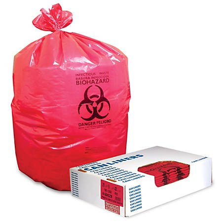 "Heritage Healthcare Biohazard Can Liners, 40-45 Gallons, 40"" x 46"", 1.3 Mil., Red, Box Of 200"