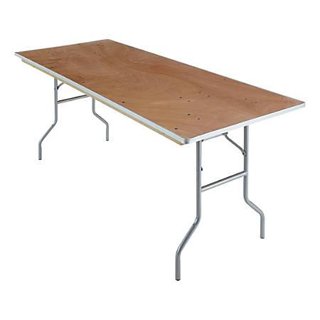 "Iceberg Natural Plywood Rectangular Folding Table - Rectangle Top - Folding Base - 30"" Table Top Width x 72"" Table Top Depth x 0.75"" Table Top Thickness - 29"" Height - Natural"