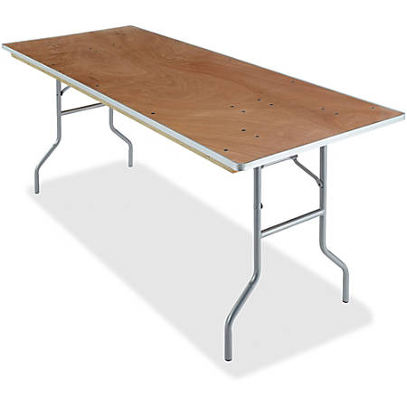 "Iceberg Natural Plywood Rectangular Folding Table - Rectangle Top - Folding Base - 30"" Table Top Width x 72"" Table Top Depth x 0.75"" Table Top Thickness - 29"" Height - Natural"
