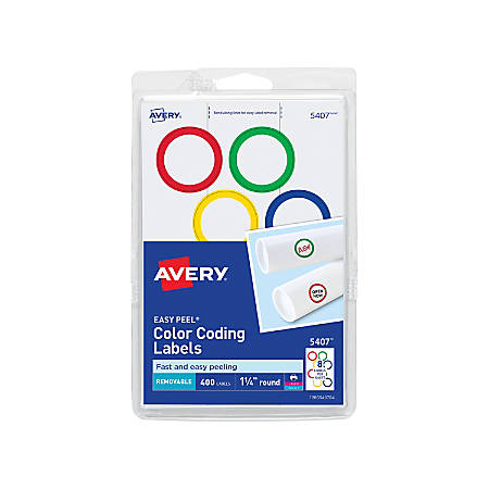 "Avery® Removable Round Multipurpose Labels, Color Coding, 5407, 1 1/4"" Diameter, Assorted Colors, Pack Of 400"