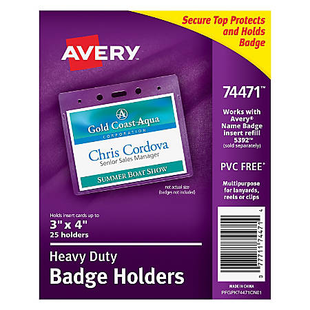 Avery Badge Holders Horizontal Prepunched X Badge Box Of By - 3x4 name tag template