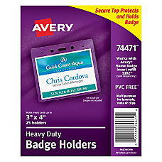 Avery Badge Holders Horizontal Prepunched 3