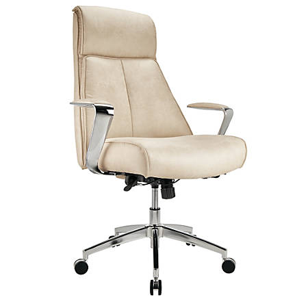 Realspace® Modern Comfort Series Devley Leath-Aire High-Back Chair, Cream/Chrome