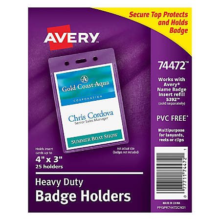 avery badge holders vertical prepunched 3 x 4 badge box of. Black Bedroom Furniture Sets. Home Design Ideas