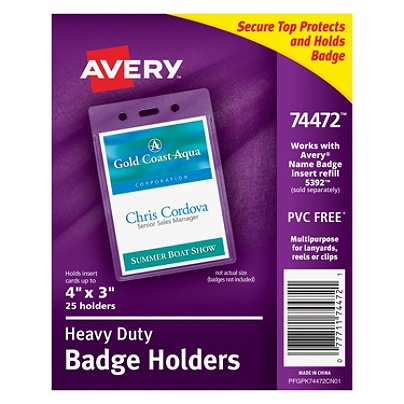 Avery Badge Holders Vertical Prepunched 3 X 4 Badge Box Of 25 By