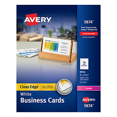 """Avery® Laser Clean Edge® Two-Side Printable Business Cards, 2"""" x 3 1/2"""", White, Pack Of 1,000"""