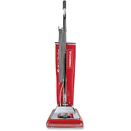 """Sanitaire Upright Vacuum with Shake-out Bag - 840 W Motor - 4.50 gal - Bagged - 12"""" Cleaning Width - 50 ft Cable Length - 7 A - Red, Chrome"""