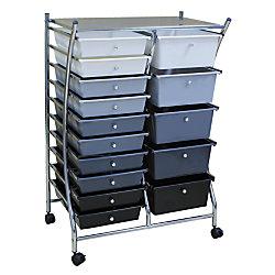 """Realspace® 15-Drawer Mobile Organizer, 37 5/7""""H x 25""""W x 15 1/5""""D, Black/Gray/White"""