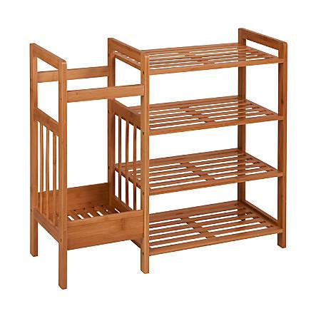 "Honey-Can-Do 4-Tier Bamboo Entryway Organizer, 25 1/4""H x 28 3/8""W x 10 5/8""D, Natural"
