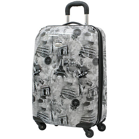 """Overland World Destination Hardside Upright Rolling Carry-On Luggage Bag, 20""""H x 9""""W x 13-1/2""""D, Gray"""
