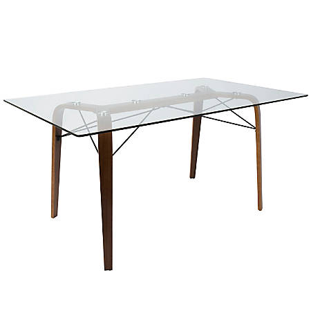 Lumisource Trilogy Mid-Century Modern Dining Table, Rectangular, Glass/Walnut