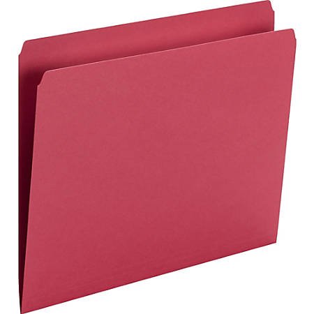 """Smead Top Tab Colored Folders - Letter - 8 1/2"""" x 11"""" Sheet Size - 3/4"""" Expansion - 11 pt. Folder Thickness - Red - Recycled - 100 / Box"""