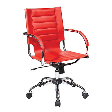 Ave Six Trinidad Vinyl Mid-Back Office Chair, Red/Silver