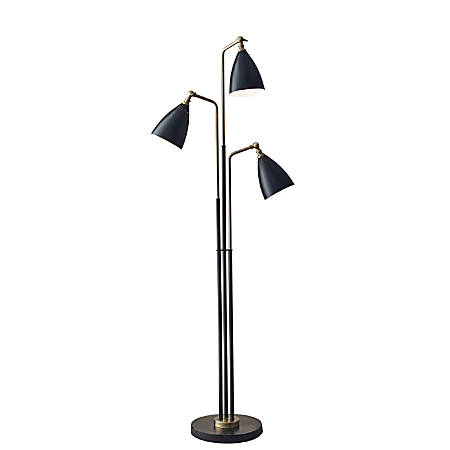 "Adesso® Chelsea 3-Light Tree Lamp, 68""H, Black Shade/Black Base"
