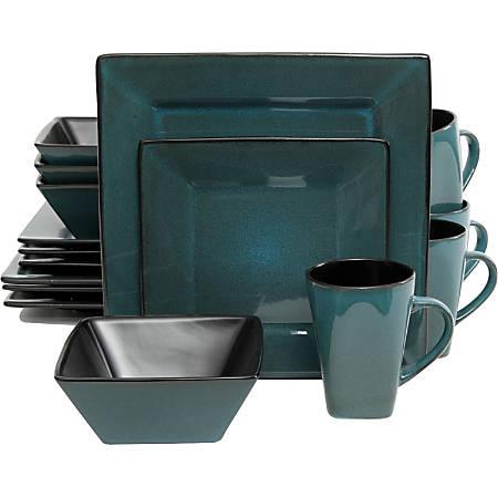 Gibson Kiesling Blue 16 pc DW Set - Dinner Plate, Dessert Plate, Soup Bowl, Mug - Stoneware - Dishwasher Safe - Microwave Safe - Blue - Glazed