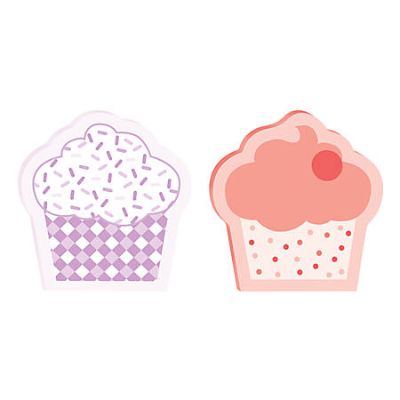 """Post-it® Mixed Design Super Sticky Notes Cupcakes, 3"""" x 3"""", Assorted Colors, Pack Of 2 Pads"""