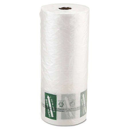"""Inteplast Group Produce Bags, 20"""" x 12"""", Clear, 875 Bags Per Roll, Carton Of 4 Rolls"""