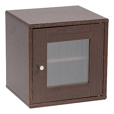 """IRIS Storage Cube With Window Door, 13-1/2""""H x 13-1/2""""W x 11-7/16""""D, Brown Oak"""