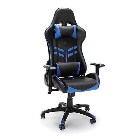 Essentials By OFM Racing-Style High-Back Bonded Leather Gaming Chair, Blue/Black