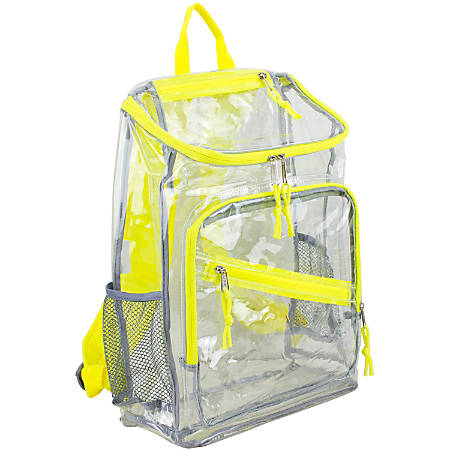 Eastport PVC Deluxe Top-Loader Backpack, Clear/Citrus Sizzle
