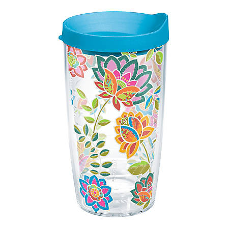 Tervis Boho Tumbler With Lid, Floral Chic Design, 16 Oz, Clear