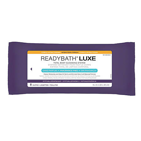 "ReadyBath LUXE Total Body Cleansing Heavyweight Washcloths, Antibacterial, Unscented, 8"" x 8"", White, 8 Washcloths Per Pack, Case Of 24 Packs"