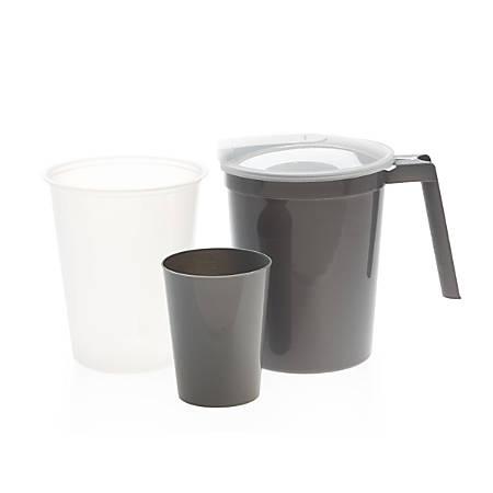 Medline Premium Water Pitcher & Tumbler Set, Graduated Inner Plastic Liner, Graphite, Pack Of 40