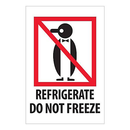 "Tape Logic International Safe-Handling Labels, ""Refrigerate Do Not Freeze"", Rectangular, IPM505, 4"" x 6"", Multicolor, Roll Of 500 Labels"