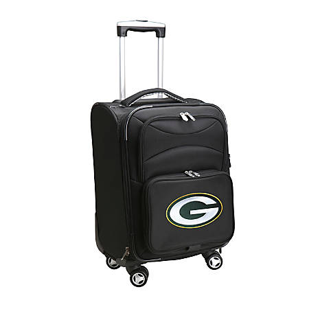 "Denco ABS Upright Rolling Carry-On Luggage, 21""H x 13""W x 9""D, Green Bay Packers, Black"